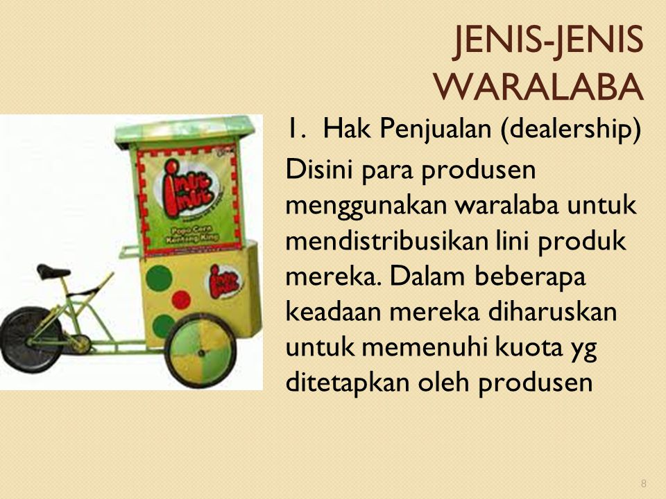 JENIS-JENIS WARALABA 1. Hak Penjualan (dealership)