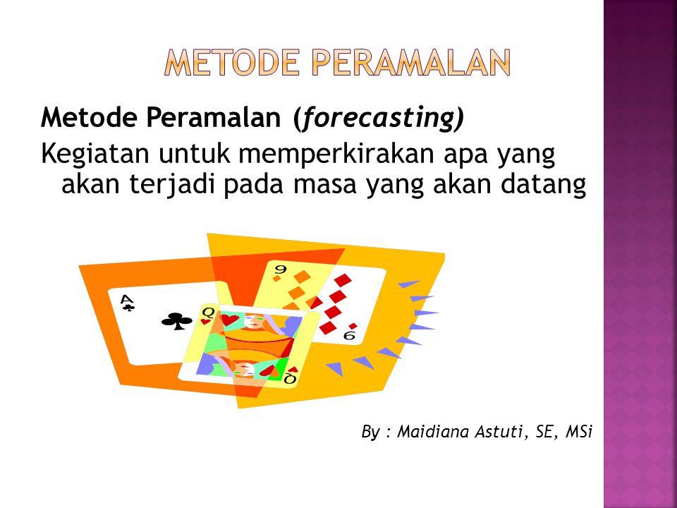 METODE PERAMALAN Metode Peramalan (forecasting)
