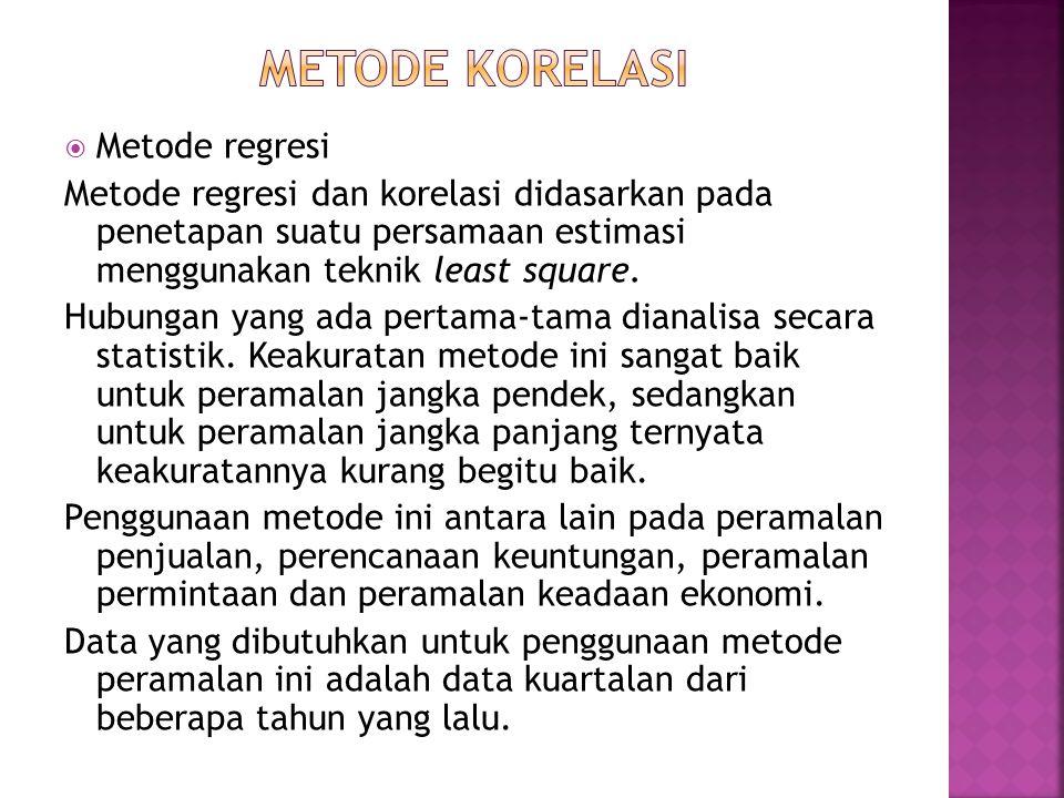 Metode korelasi Metode regresi