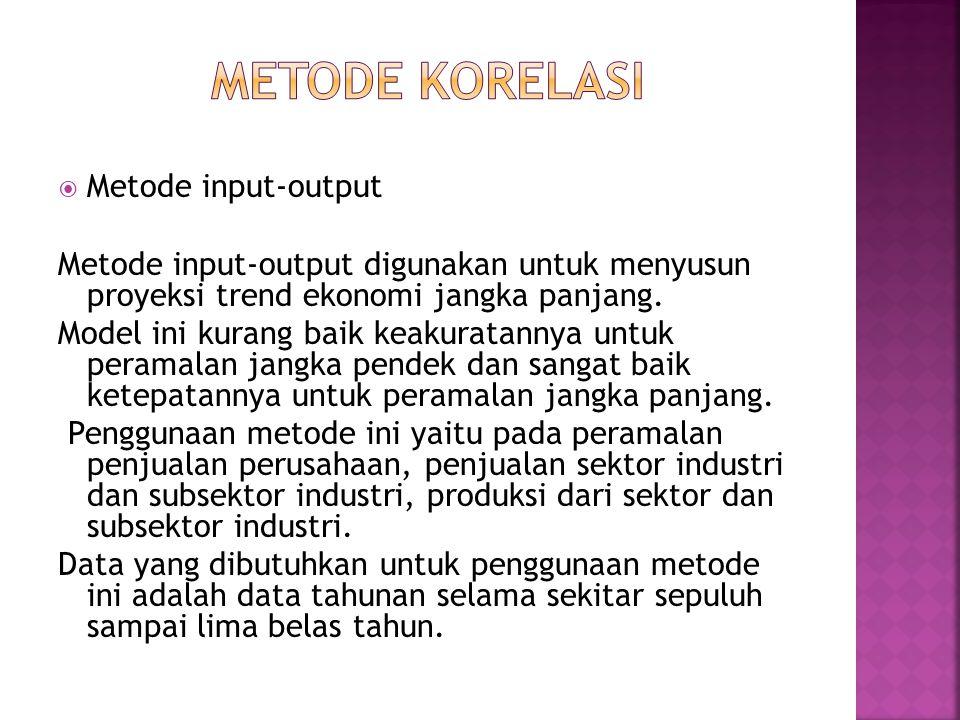 Metode korelasi Metode input-output