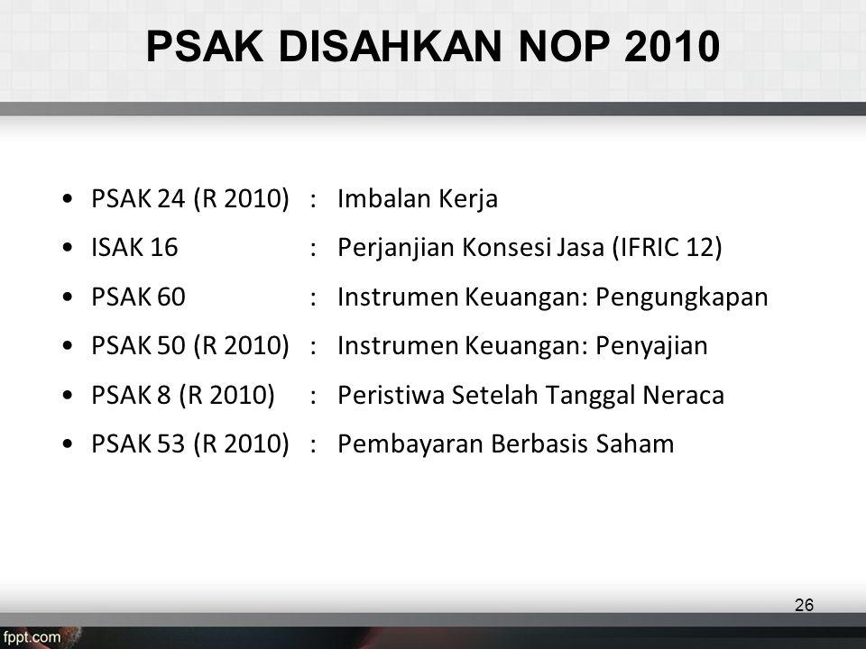 PSAK DISAHKAN NOP 2010 PSAK 24 (R 2010) : Imbalan Kerja