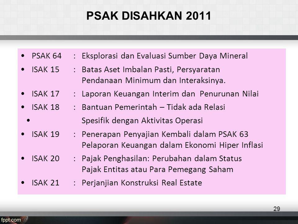 PSAK DISAHKAN 2011 PSAK 64 : Eksplorasi dan Evaluasi Sumber Daya Mineral.