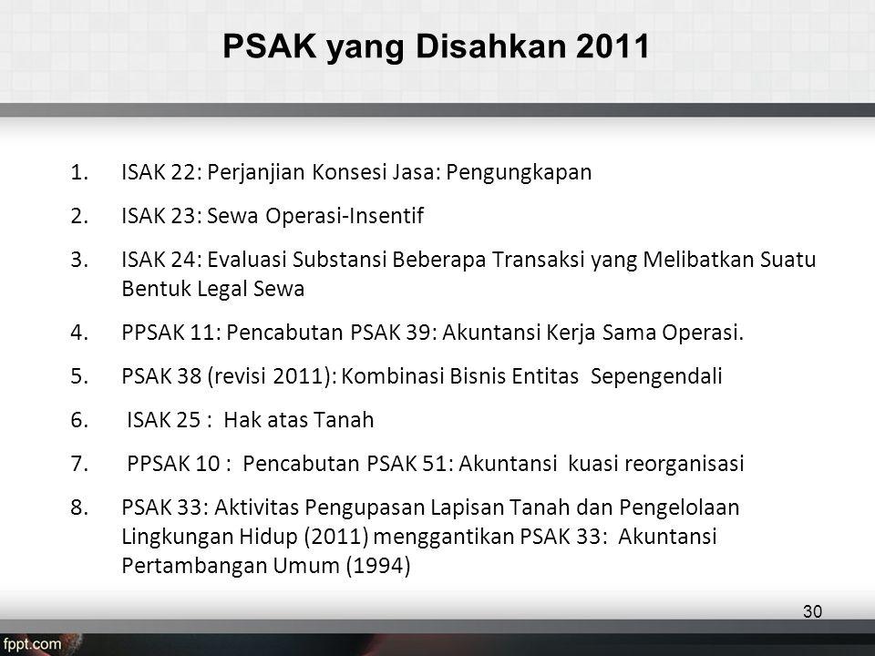 PSAK yang Disahkan 2011 ISAK 22: Perjanjian Konsesi Jasa: Pengungkapan