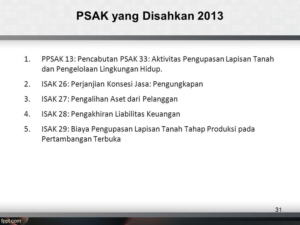 PSAK yang Disahkan 2013 PPSAK 13: Pencabutan PSAK 33: Aktivitas Pengupasan Lapisan Tanah dan Pengelolaan Lingkungan Hidup.