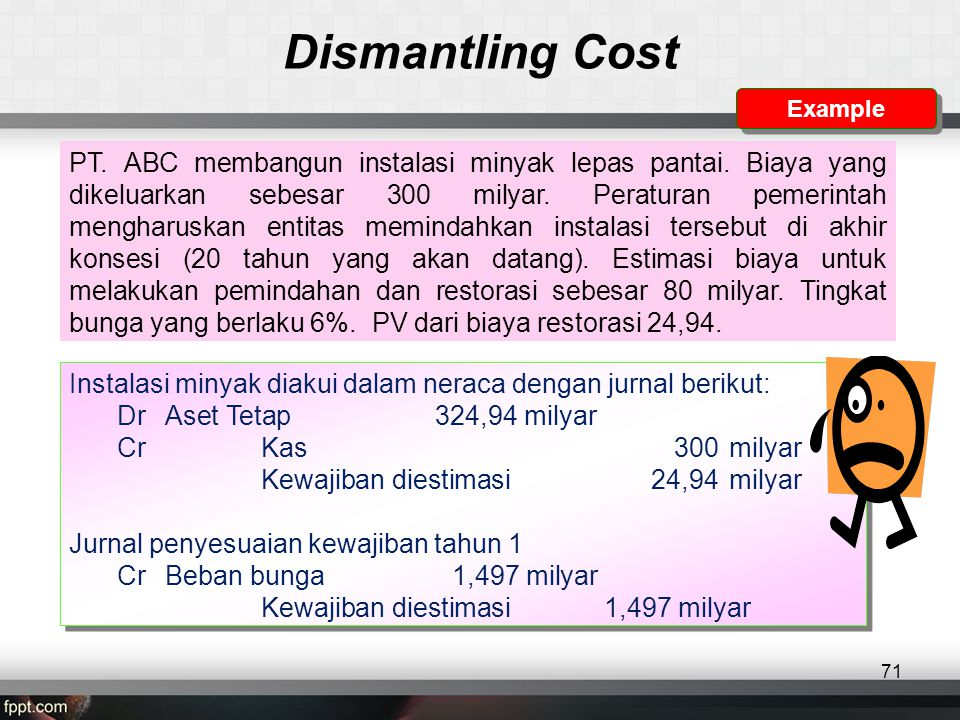 Dismantling Cost Example.