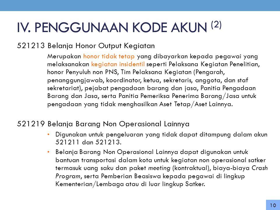IV. PENGGUNAAN KODE AKUN (2)