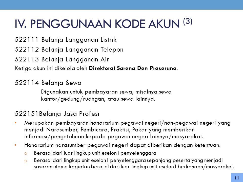 IV. PENGGUNAAN KODE AKUN (3)