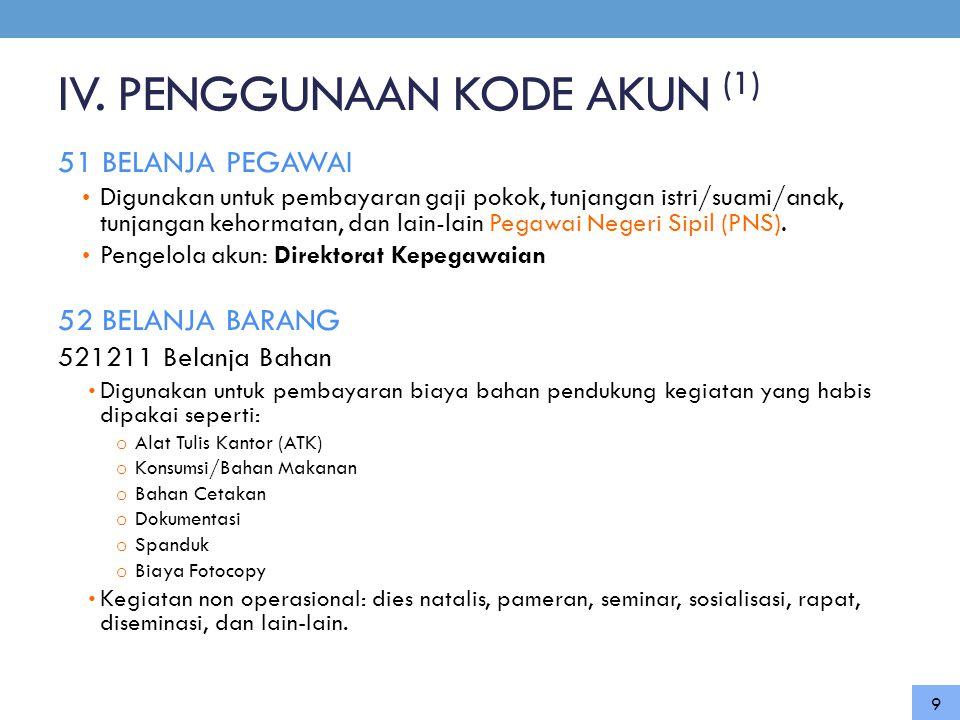 IV. PENGGUNAAN KODE AKUN (1)