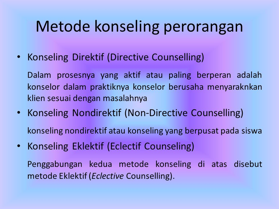 non directive counseling Non-directive counseling - patient essay example non-directive counseling -counseling procedure in which the counselor is empathetic and.