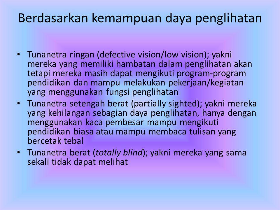 Berdasarkan kemampuan daya penglihatan