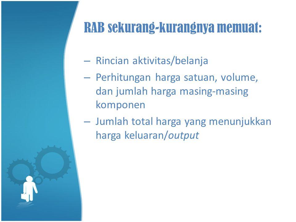 RAB sekurang-kurangnya memuat: