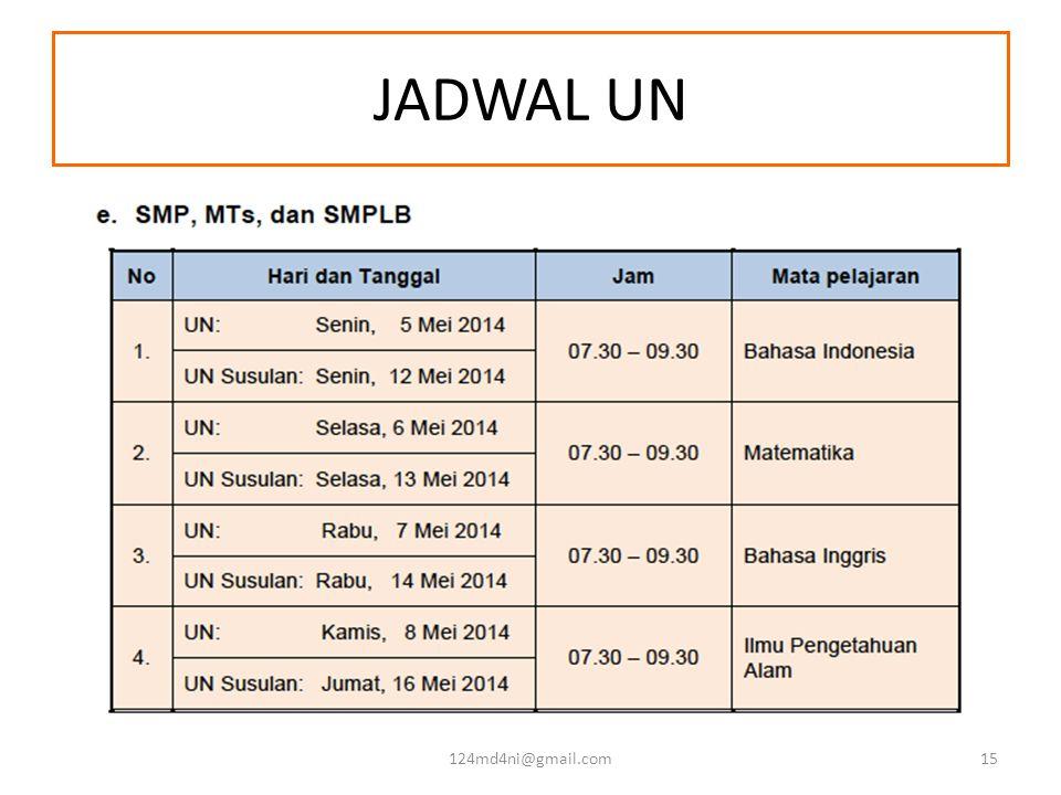 JADWAL UN 124md4ni@gmail.com