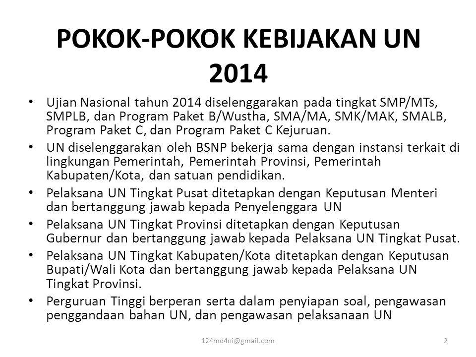 POKOK-POKOK KEBIJAKAN UN 2014