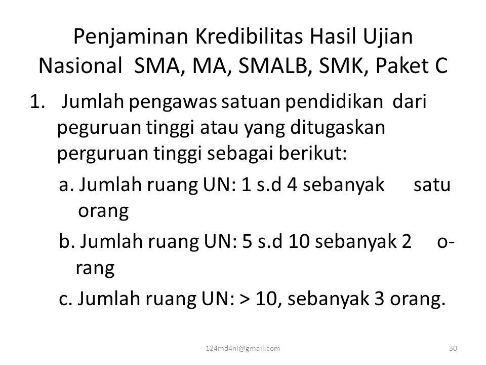 Penjaminan Kredibilitas Hasil Ujian Nasional SMA, MA, SMALB, SMK, Paket C