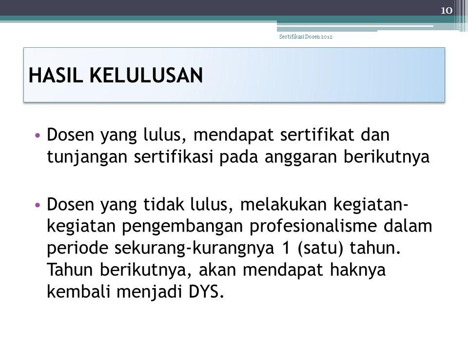 Sertifikasi Dosen 2012 HASIL KELULUSAN. Dosen yang lulus, mendapat sertifikat dan tunjangan sertifikasi pada anggaran berikutnya.