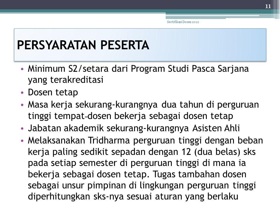 Sertifikasi Dosen 2012 PERSYARATAN PESERTA. Minimum S2/setara dari Program Studi Pasca Sarjana yang terakreditasi.
