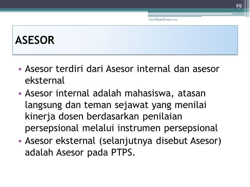 ASESOR Asesor terdiri dari Asesor internal dan asesor eksternal
