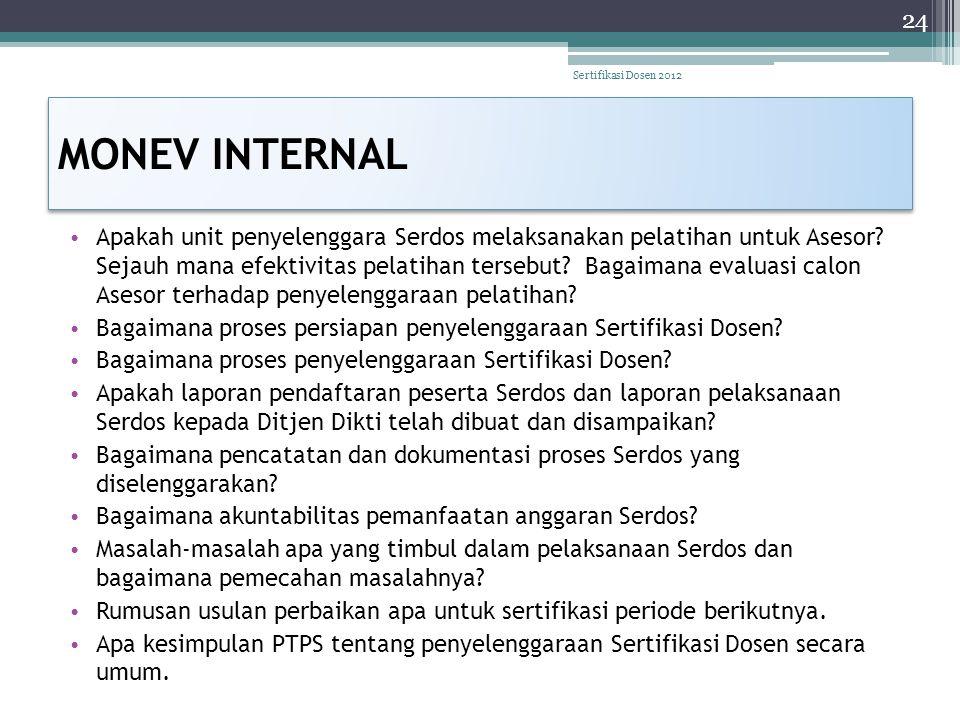 Sertifikasi Dosen 2012 MONEV INTERNAL.