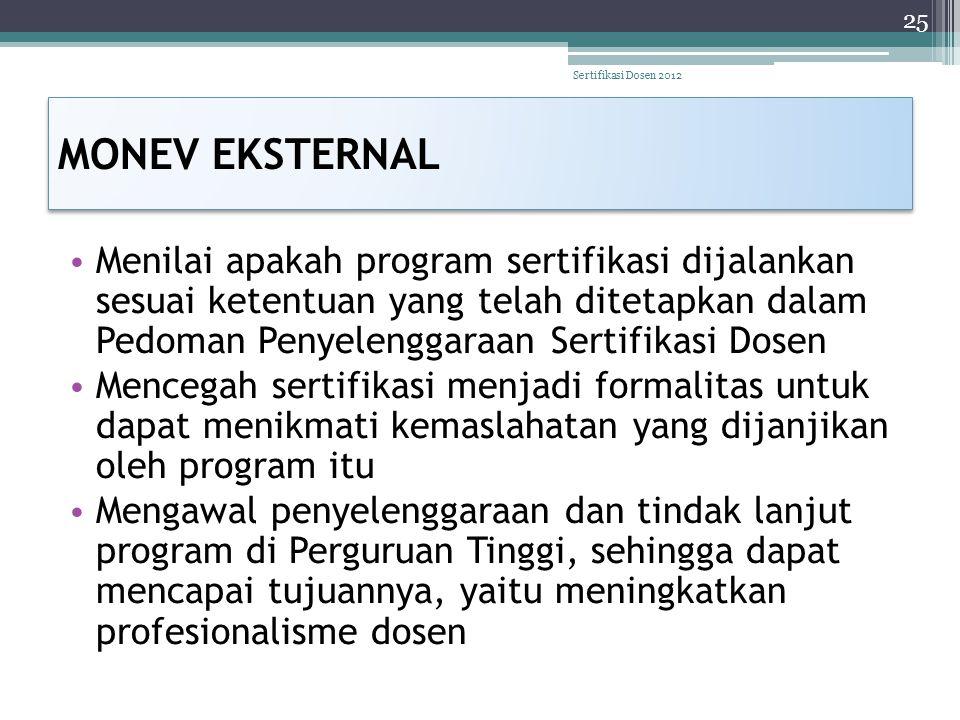 Sertifikasi Dosen 2012 MONEV EKSTERNAL.