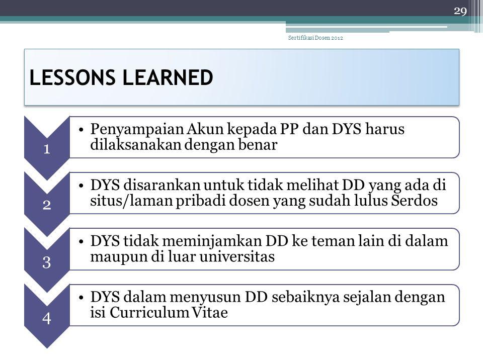 LESSONS LEARNED Sertifikasi Dosen 2012 1