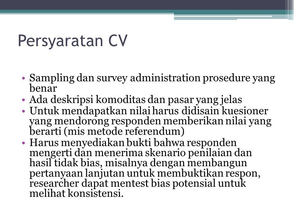 Persyaratan CV Sampling dan survey administration prosedure yang benar