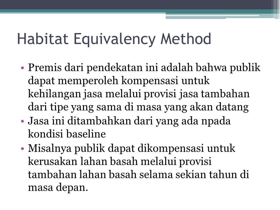 Habitat Equivalency Method