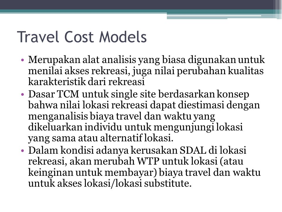 Travel Cost Models