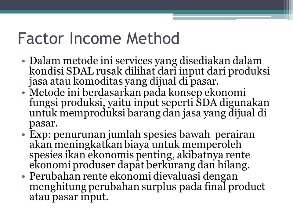 Factor Income Method