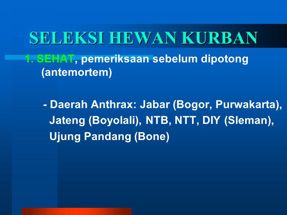SELEKSI HEWAN KURBAN 1. SEHAT, pemeriksaan sebelum dipotong (antemortem) - Daerah Anthrax: Jabar (Bogor, Purwakarta),