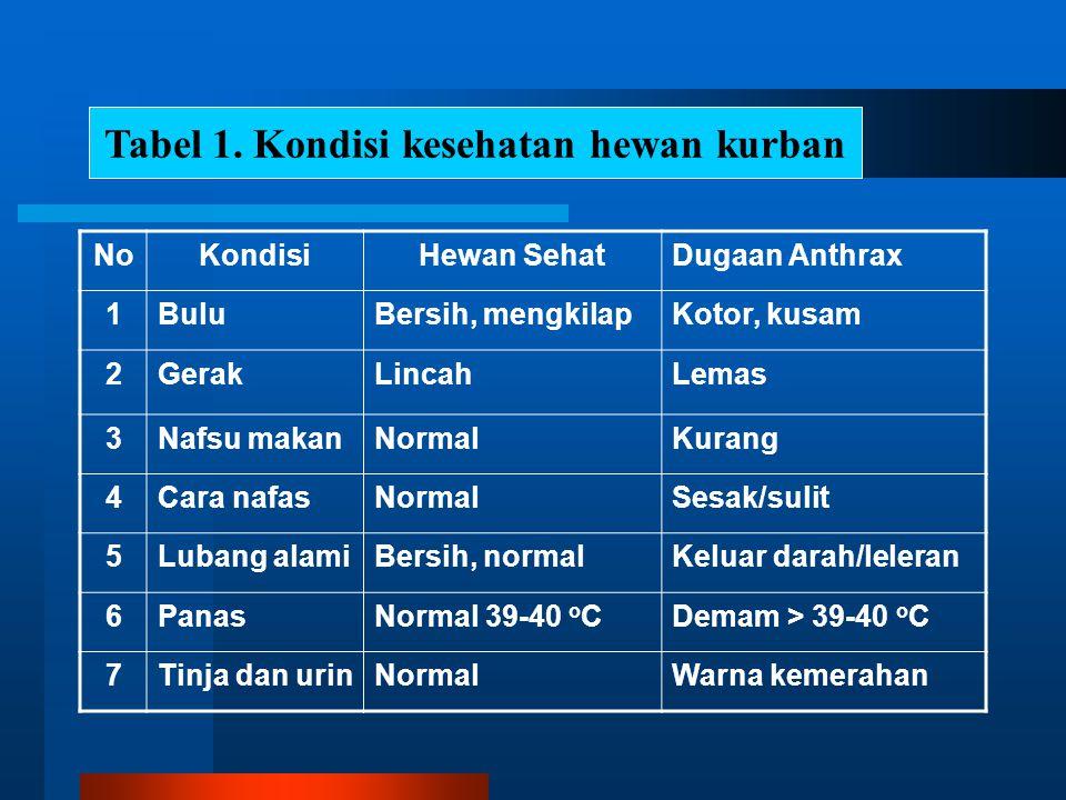Tabel 1. Kondisi kesehatan hewan kurban