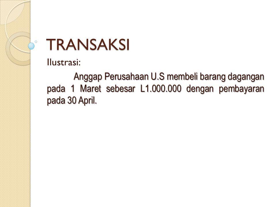 TRANSAKSI Ilustrasi: Anggap Perusahaan U.S membeli barang dagangan pada 1 Maret sebesar L1.000.000 dengan pembayaran pada 30 April.