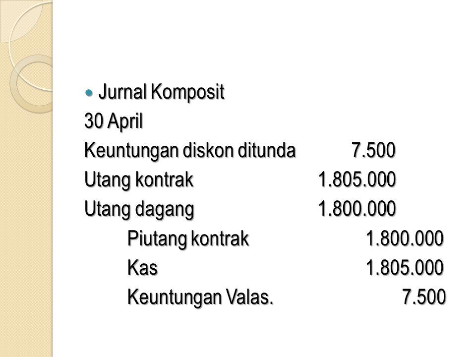 Jurnal Komposit 30 April. Keuntungan diskon ditunda 7.500. Utang kontrak 1.805.000. Utang dagang 1.800.000.