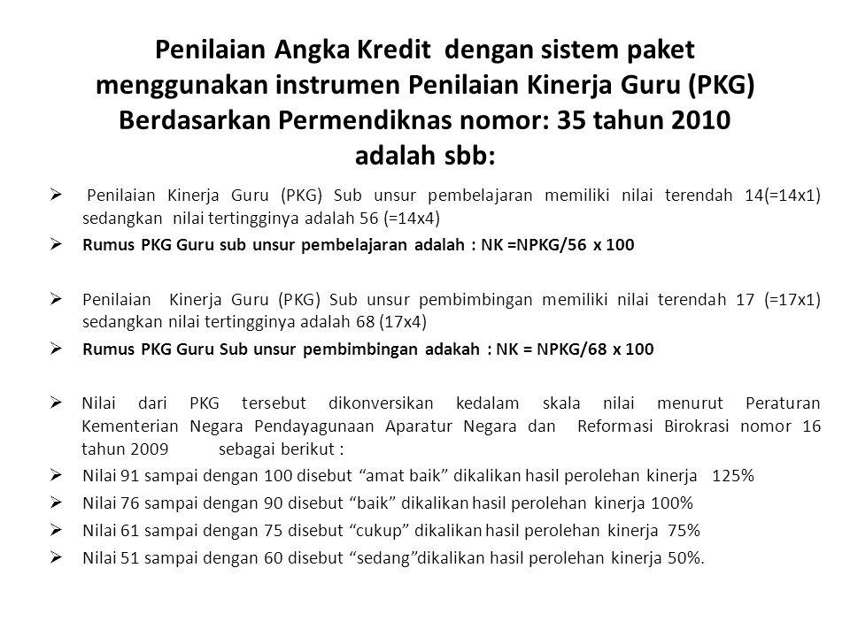 Penilaian Angka Kredit dengan sistem paket menggunakan instrumen Penilaian Kinerja Guru (PKG) Berdasarkan Permendiknas nomor: 35 tahun 2010 adalah sbb: