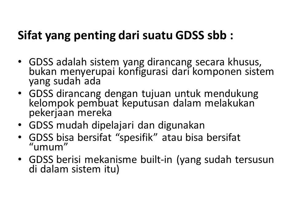 Sifat yang penting dari suatu GDSS sbb :