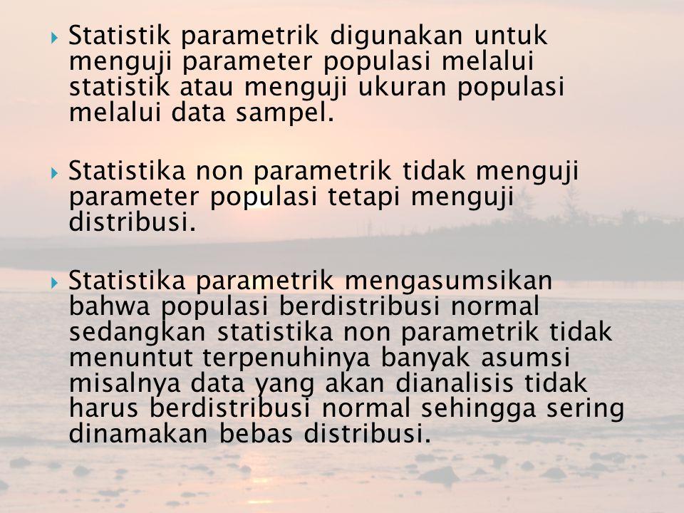 Statistik parametrik digunakan untuk menguji parameter populasi melalui statistik atau menguji ukuran populasi melalui data sampel.