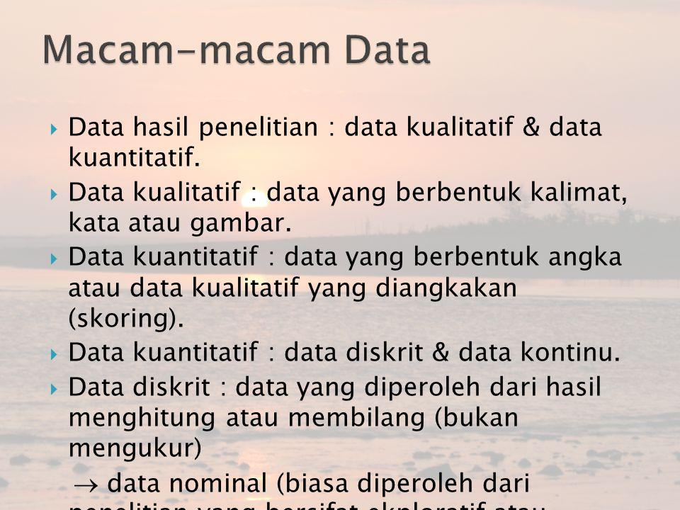 Macam-macam Data Data hasil penelitian : data kualitatif & data kuantitatif. Data kualitatif : data yang berbentuk kalimat, kata atau gambar.