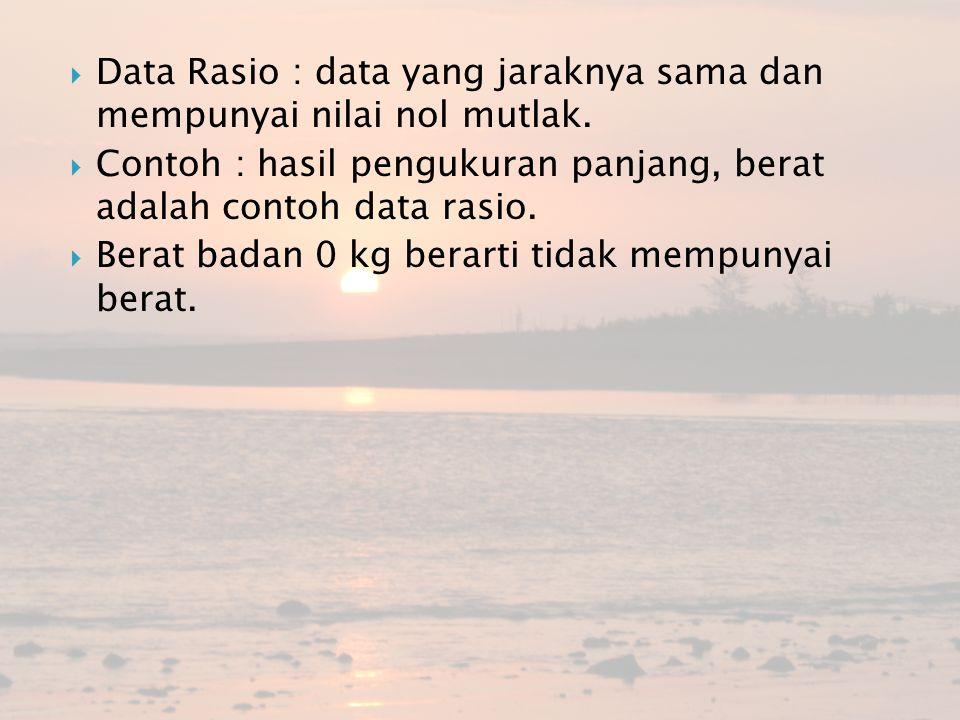 Data Rasio : data yang jaraknya sama dan mempunyai nilai nol mutlak.