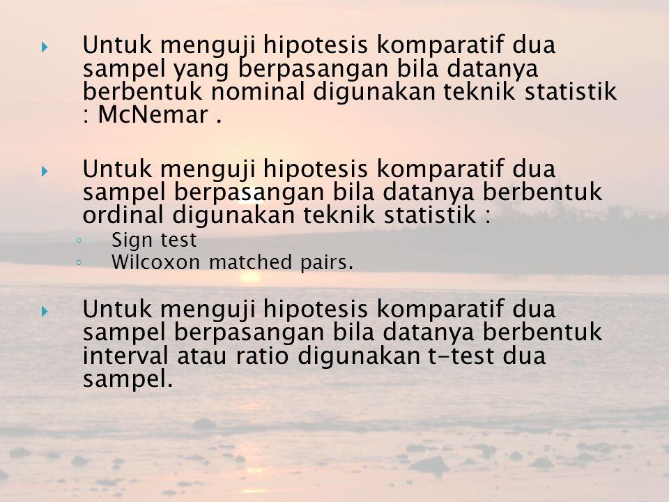 Untuk menguji hipotesis komparatif dua sampel yang berpasangan bila datanya berbentuk nominal digunakan teknik statistik : McNemar .