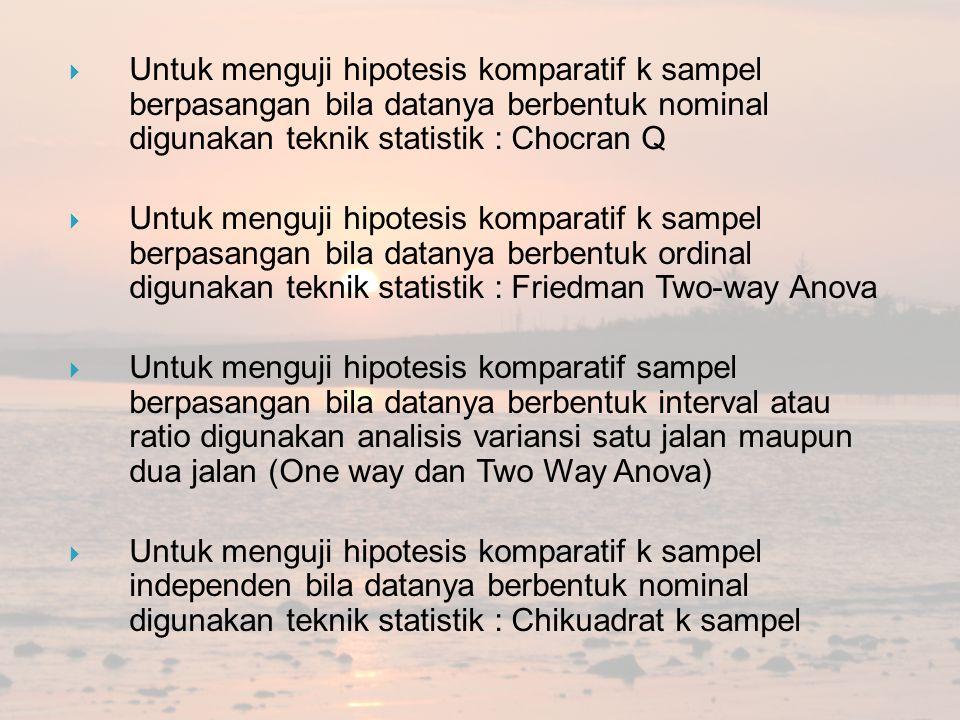 Untuk menguji hipotesis komparatif k sampel berpasangan bila datanya berbentuk nominal digunakan teknik statistik : Chocran Q