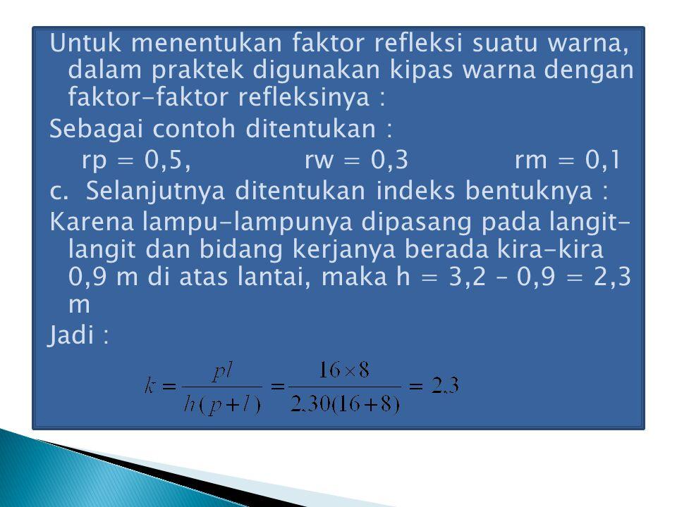 Untuk menentukan faktor refleksi suatu warna, dalam praktek digunakan kipas warna dengan faktor-faktor refleksinya : Sebagai contoh ditentukan : rp = 0,5, rw = 0,3 rm = 0,1 c.