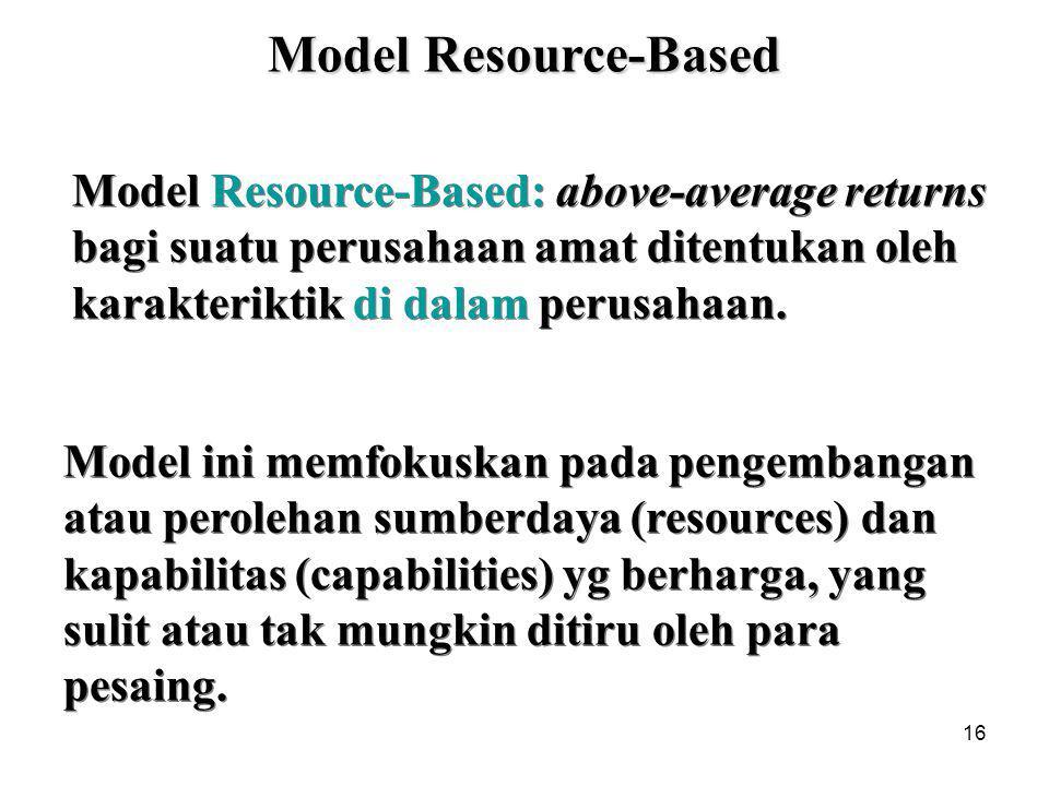 Model Resource-Based Model Resource-Based: above-average returns bagi suatu perusahaan amat ditentukan oleh karakteriktik di dalam perusahaan.