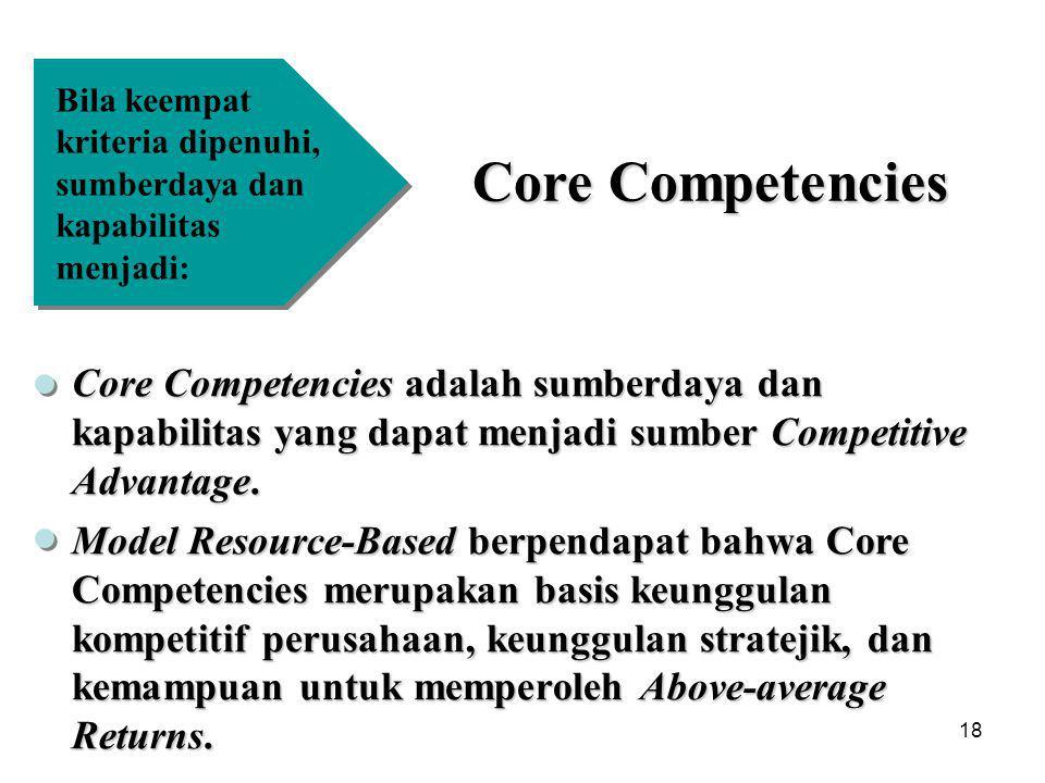 Bila keempat kriteria dipenuhi, sumberdaya dan kapabilitas menjadi: