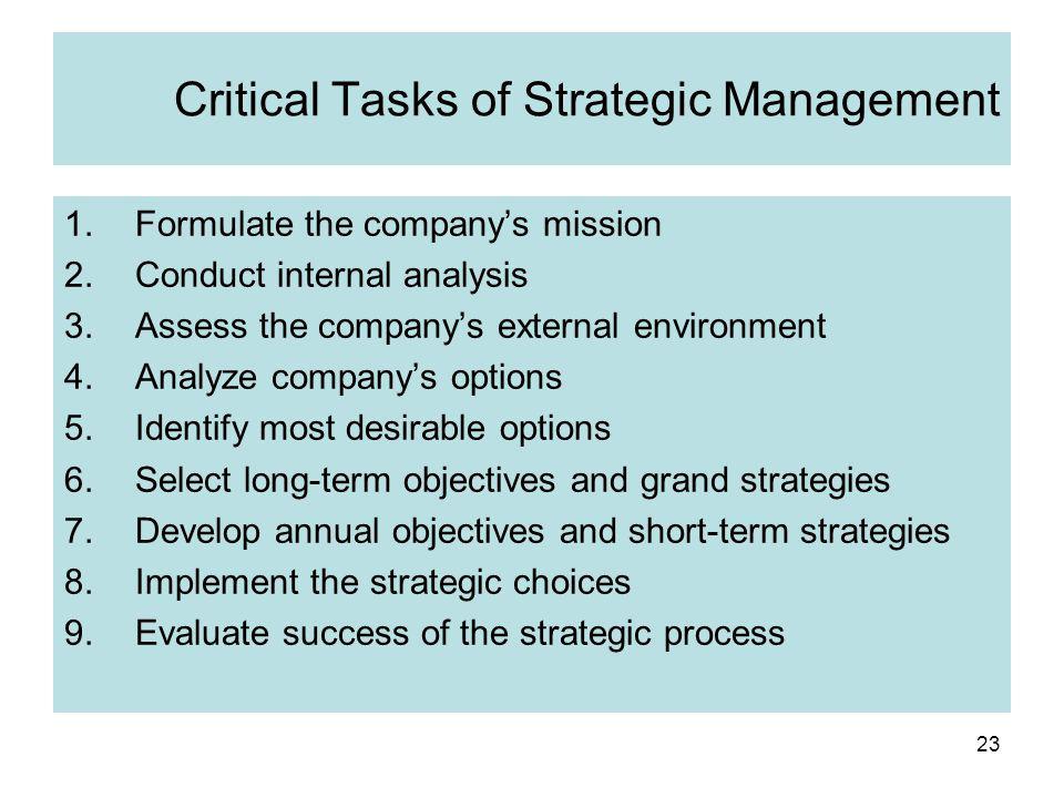 Critical Tasks of Strategic Management