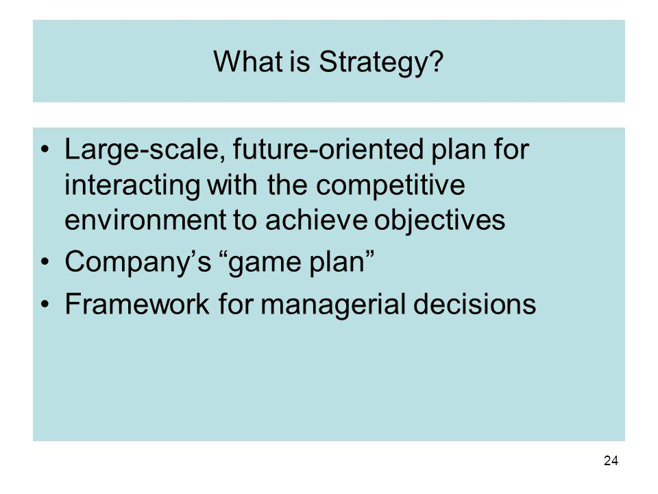 What is Strategy Large-scale, future-oriented plan for interacting with the competitive environment to achieve objectives.