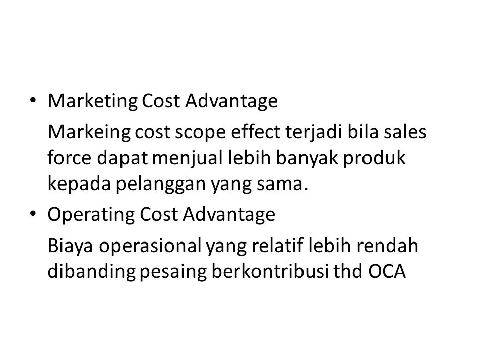 Marketing Cost Advantage