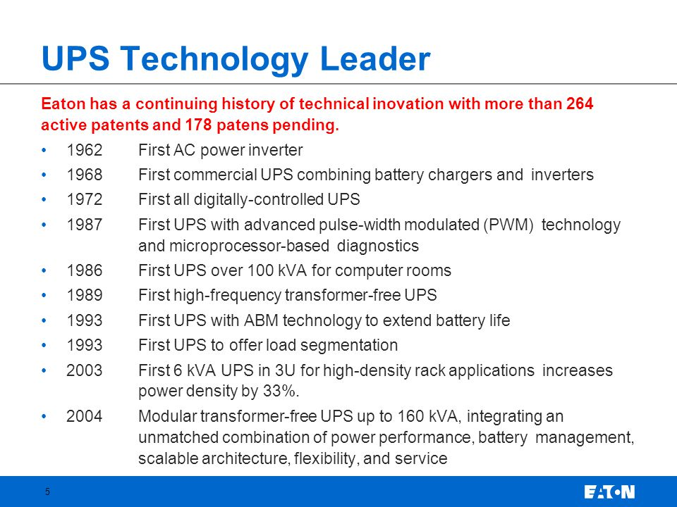 UPS Technology Leader Eaton has a continuing history of technical inovation with more than 264 active patents and 178 patens pending.