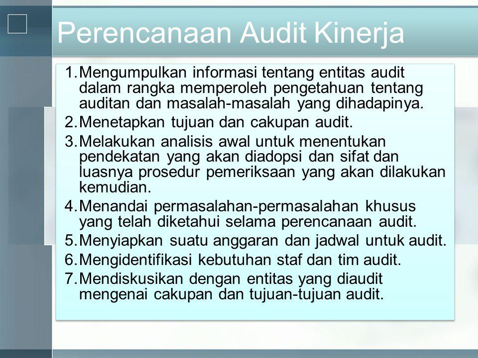 Perencanaan Audit Kinerja