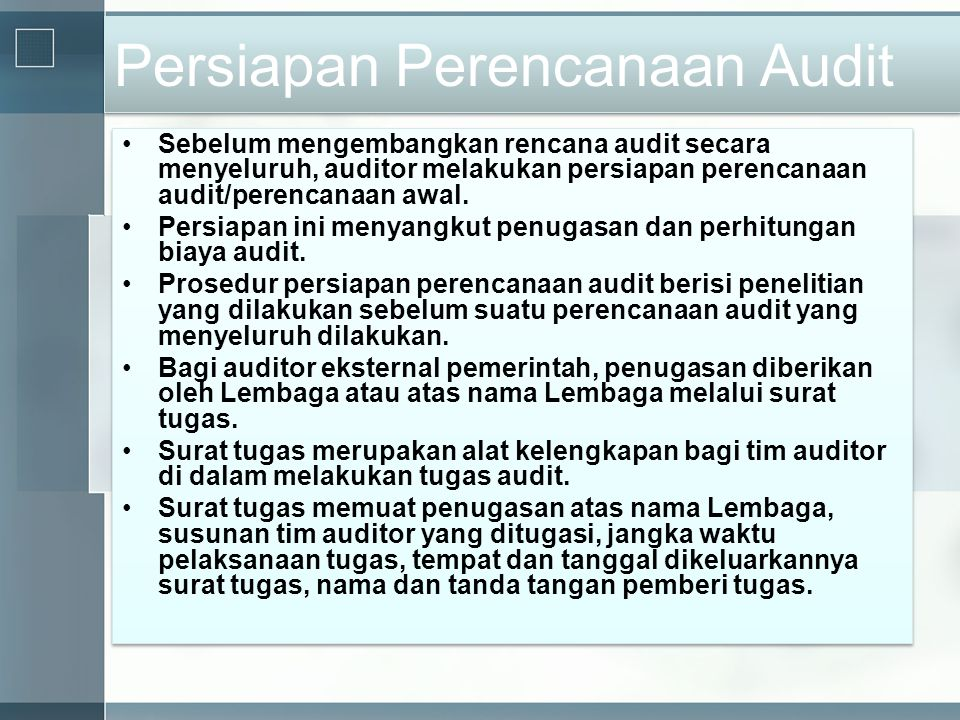 Persiapan Perencanaan Audit