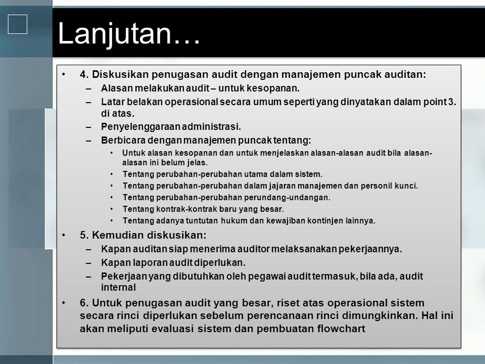 Lanjutan… 4. Diskusikan penugasan audit dengan manajemen puncak auditan: Alasan melakukan audit – untuk kesopanan.