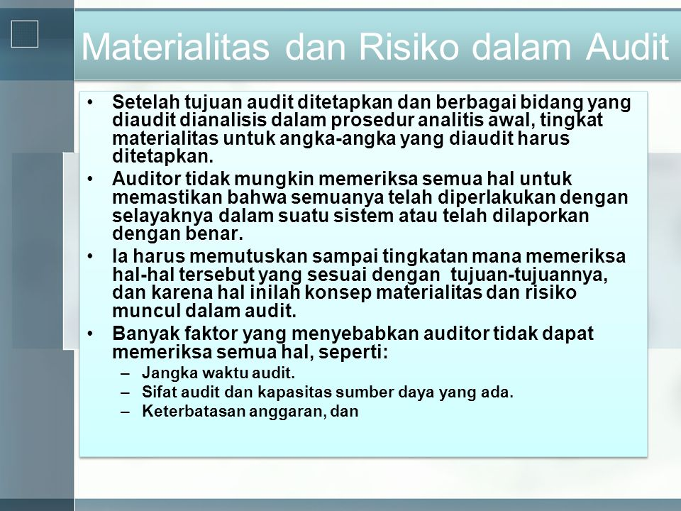 Materialitas dan Risiko dalam Audit